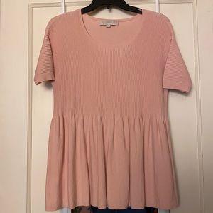 LOFT blush pink ribbed short sleeve sweater top M